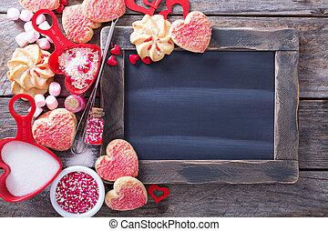 småkakor, valentinkort, omkring, dag, chalkboard