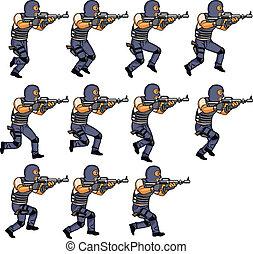 smække, løb, animation, officer