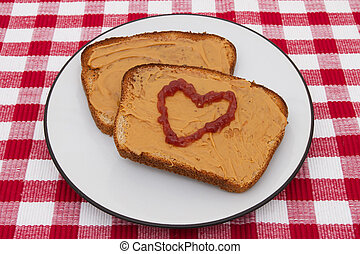 smör, jordnöt, marmelad, kärlek