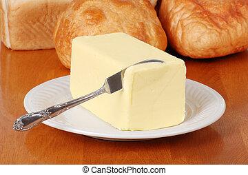 smör, med, kniv
