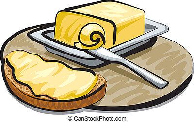 smör, med, sandwich