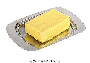 smör, på, silver, smör rätt