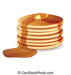smör, pancakes, vektor, saft, lönn