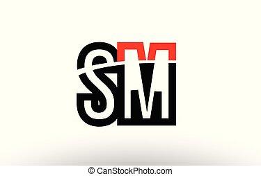sm, alphabet, m, s, conception, lettre, logo, noir, blanc,...