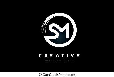 sm, arrière-plan., conception, brosse, lettre, logo, milieu...