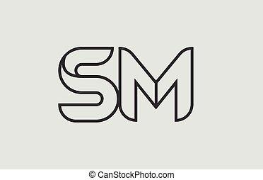 sm, combinaison, alphabet, m, s, noir, lettre, logo, blanc