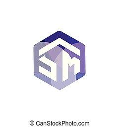 sm, initiale, vecteur, lettre, logo, hexagonal