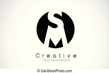 sm, intérieur, conception, lettre, logo, cercle, noir
