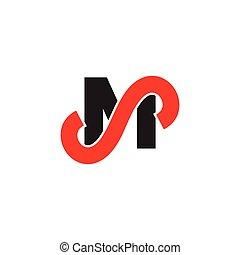 sm, lettre, vecteur, logo, simple, lié