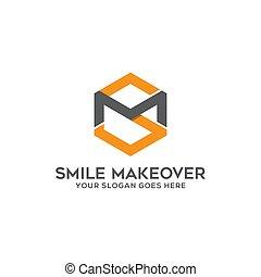 sm, logo, simple, inspirations, lettre, carrée, vecteur,...