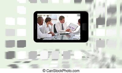 sm, réunions, business, vidéos