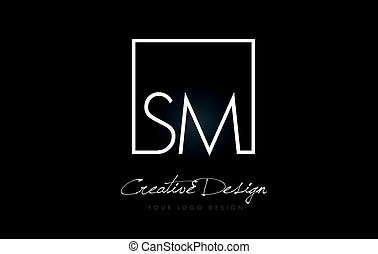 SM Square Frame Letter Logo Design with Black and White Colors.