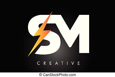sm, tonnerre, éclairage, boulon, lettre, logo, bolt.,...