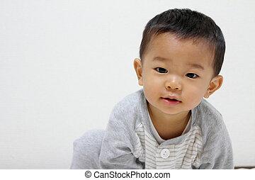 smailing, japane, spädbarn, (1, år, old)
