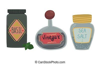 smak, przyprawa, komplet, kontenery, jadło, przyprawa, ...