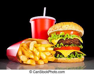 smakelijk, hamburger, en, patat, op, een, donker