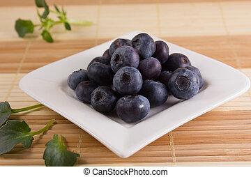 smaklig, blåbär, på, a, square-shaped, tallrik