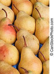 smaklig, mogen, gul, päron, close-up., bakgrund