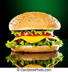 smaklig, och, aptitretande, hamburgare, på, a, mörkt, grön