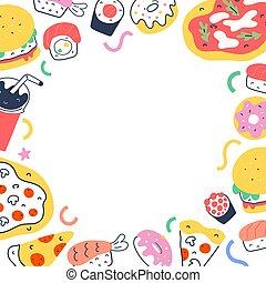 smaklig, sushi, täcka, fasta, oavgjord, illustrationer, cafe, pizza, mat, meny, soda, vektor, gräns, mall, avskrift, söt, rolls, toppmodern, dricka, ram, klotter, utrymme, leverans, tecknad film, hand, bakgrund