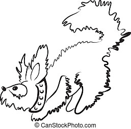 Simple monochrome fluffy dog character drawn with minimum strokes