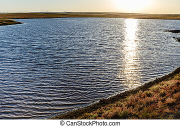 lake in the mongolian steppe