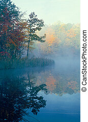 Smal pond with trees in fall color reflecting through the mist