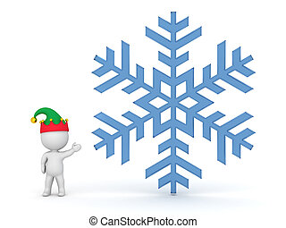 Small 3D Character with Elf Hat Showing Large Snowflake