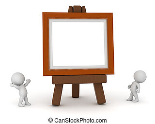 Small 3D Characters with Large Easel and Painting Frame