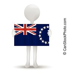 small 3d man holding a flag of Cook Islands