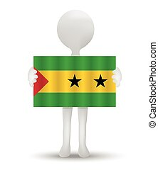 Sao Tome and Principe - small 3d man holding a flag of...