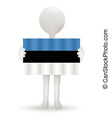 small 3d man holding a flag of Estonia
