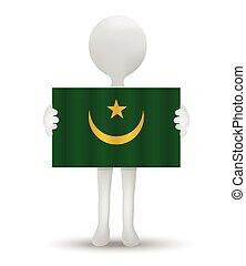 Mauritania - small 3d man holding a flag of Islamic Republic...