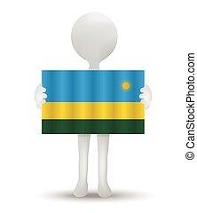 Rwanda - small 3d man holding a flag of Republic of Rwanda