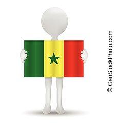 Senegal - small 3d man holding a flag of Republic of Senegal...