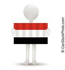 Yemen - small 3d man holding a flag of Republic of Yemen