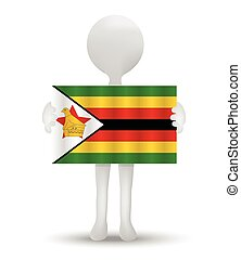 Republic of Zimbabwe - small 3d man holding a flag of ...