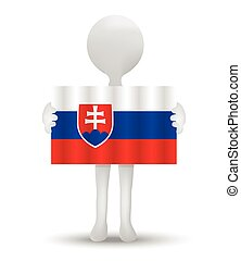 small 3d man holding a flag of Slovak Republic