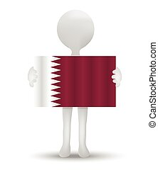 Qatar - small 3d man holding a flag of State of Qatar