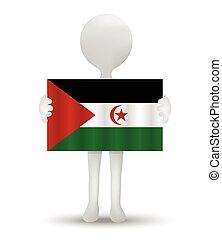 Western Sahara - small 3d man holding a flag of Western...