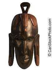 studio photography of a wooden african mask isolated on white