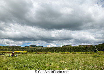 Small aircraft taking off on scenic grassy runway - A small,...
