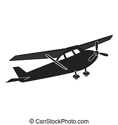 Small airplane flying, isolated flat icon.