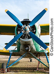 Small airplane. Propeller close-up photo