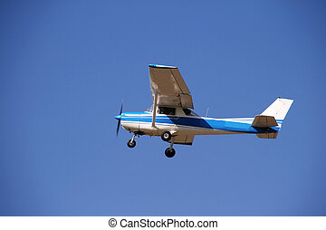 Small single engine prop airplane. Air transporation.