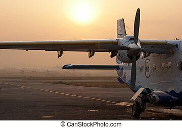 Small airplane waiting for flight to Lukla in Kathmandu ...