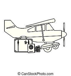 Small airplane with luggage black and white