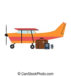 Small airplane with luggage