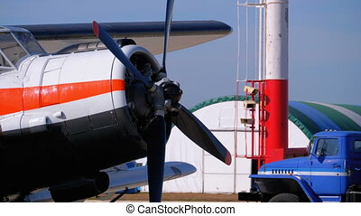 Small Airplane with Propeller Standing on the Aircraft...