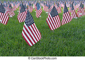 Small American Flags in 9/11 memorial